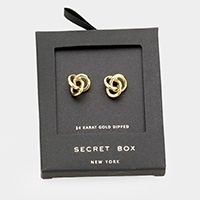 Secret Box _ 14K Gold Dipped Metal Knot Stud Earrings