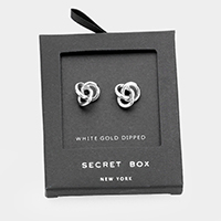 Secret Box _  White Gold Dipped Metal Knot Stud Earrings
