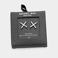 Secret Box _  White Gold Dipped CZ X Shaped Stud Earrings