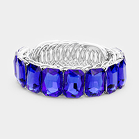 Marquise Crystal Rectangle Cuff Evening Bracelet
