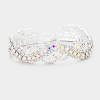 Braided Bubble Crystal Pave Evening Bracelet