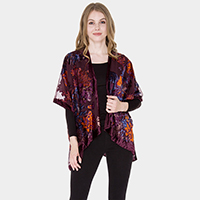 Floral Patterned See Through Poncho