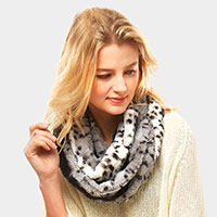 Animal Pattern Faux Fur Infinity Scarf