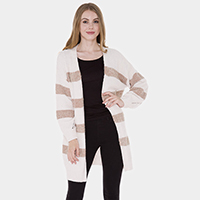 Color Block Soft Knit Cardigan