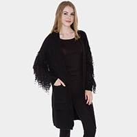 Pockets in Front Tassel Sleeve Detail Cable Knit Cardigan