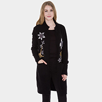 Pockets in Front Floral Soft Cardigan