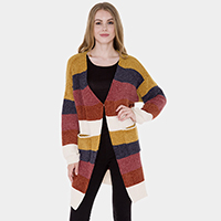 Pockets in Front Color Block Soft Cable Knit Cardigan