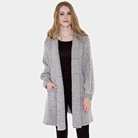Pockets in Front Zigzag Patterned Soft Knit Cardigan