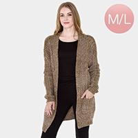 Pockets in Front Elastane Soft Knit Cardigan