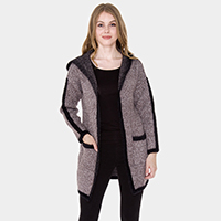 Pockets in Front Line Detail Soft Knit Hoodie Cardigan