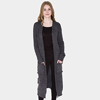 Pockets in Front Soft Knit Long Cardigan
