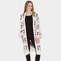 Pockets in Front Patterned Soft Knit Long Cardigan