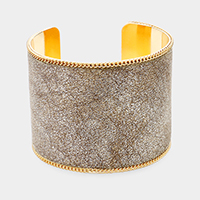 Chain Trim Leather Cuff Bracelet
