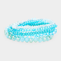5PCS - Faceted Beaded Stretch Bracelets