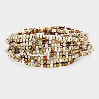 9PCS Metal Cube Beaded Stretch Bracelets