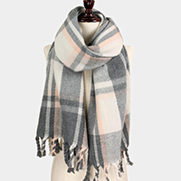 Plaid Check Tassel Fringe Oblong Scarf