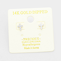 14K Gold Dipped Unbalanced CZ Hypoallergenic Cross Stud Earrings
