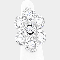 Flower Bubble Crystal Stretch Ring