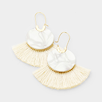 Celluloid Acetate Fan Tassel Pin Catch Earrings