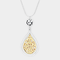 Crystal Two Tone Filigree Teardrop Pendant Necklace