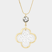 Crystal Two Tone Filigree Clover Pendant Necklace