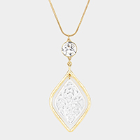 Crystal Two Tone Filigree Petal Pendant Necklace