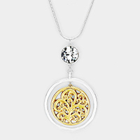 Crystal Two Tone Filigree Circle Pendant Necklace