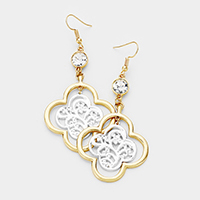 Crystal Two Tone Filigree Clover Dangle Earrings