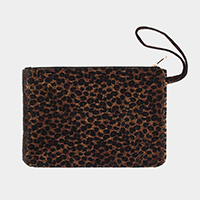 Leopard Print Large Pouch Clutch Bag