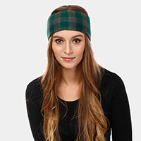 Plaid Check Soft Knit Headband