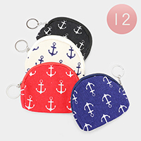 12PCS - Anchor Zipper Coin Purses with Key Chain