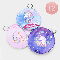 12PCS - Unicorn Print Zipper Coin Purses with Key Chain