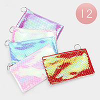 12PCS - Mermaid Zipper Wallets with Key Chain