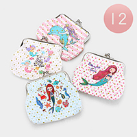 12PCS - Mermaid Printed Coin Clasp Purses