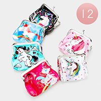 12PCS - Unicorn Printed Coin Clasp Purses