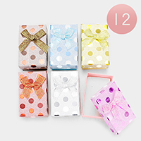 12PCS - Glittered Polka Dots Bow Deco Jewelry Gift Boxes