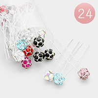 24PCS - Crystal Shamballa Ball Mini Hair Comb Pins