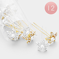 12PCS - Pearl Accented Crystal Flower Mini Hair Comb Pins