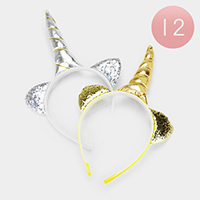 12PCS - Unicorn Horn Sequin Ear Headbands