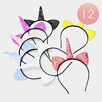 12PCS - Sequin Unicorn Horn Headbands
