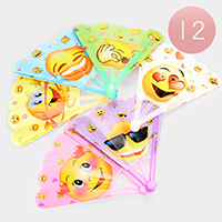 12PCS - Emoji Printed Folding Fans