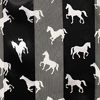 Satin Striped Running Horse Print Scarf