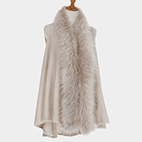 Faux Fur Collar Detail Pleated Open Vest