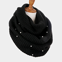 Pearl Embellished Soft Cable Knit Infinity Scarf