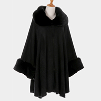 Faux Fur Detail Pleated Poncho