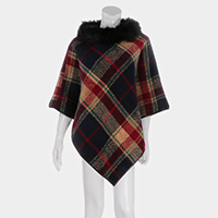 Plaid Check Faux Fur Neck Detail Cape Poncho