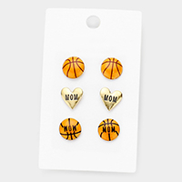 3Paris Mixed Basketball Heart Stud Earrings