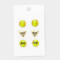 3Paris Mixed Baseball Heart Stud Earrings