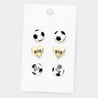 3Paris Mixed Soccer Heart Stud Earrings