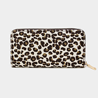 Leopard Print Faux Fur Zipper Wallet